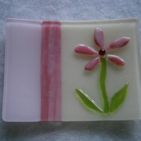 Fused glass soap or trinket dish with flower