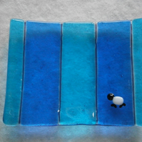 Turquoise and blue sheepy soap dish