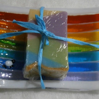 Fused glass Rainbow and sheepy soap dish