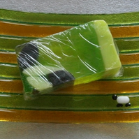 Fused glass sheepy soap dish