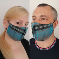 Face Mask Washable, Unisex Check Face Mask Black Grey Turquoise 3 Sizes