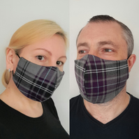 Face Mask Washable, Unisex Check Face Mask Black Grey Purple 3 Sizes