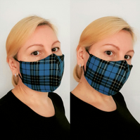 Face Mask Washable Reusable, Unisex Check Face Mask Blue Black Gold 3 Sizes