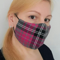 Face Mask Washable, Unisex Check Face Mask Black Grey Pink 3 Sizes