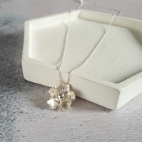 Silver Flower Necklace - Handmade Sterling Silver Floral Necklace