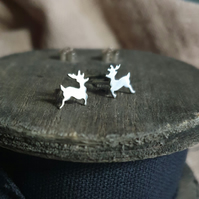 Cute Silver Reindeer Stud Earrings - Handmade Sterling Silver Deer Studs