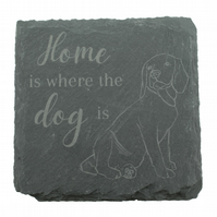 Dog Coaster – 'Home is where the dog is' – Beagle