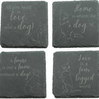 Set of 4 Coasters with French Bulldog, Husky, German Pointer and German Shepard