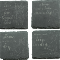 Set of 4 Coasters with Labrador, Beagle, Rottweiler and Yorkshire Terrier