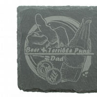 Dad Coaster - 'Beer Plus Terrible Puns Equals Dad'