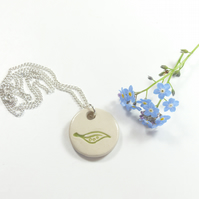 Small Green Leaf ceramic necklace