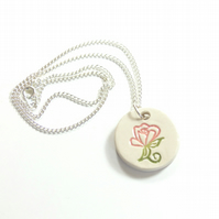 Small Pink Flower  ceramic necklace