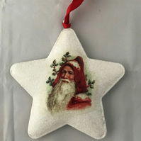 Decorated Christmas Metal Star Decoration Vintage Children Santa Style 1 Santa