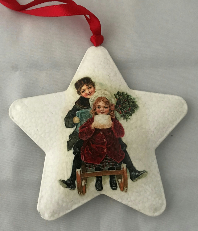 Decorated Christmas Metal Star Decoration Vintage Children Style 3 Sleigh