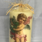 Decorated Candle Large Cherub with Holly Wreath Beautiful Decoupage Unusual