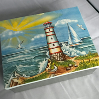 Decorated Tin Box Seaside Lighthouse Storage Treasures Photos Holiday Memories