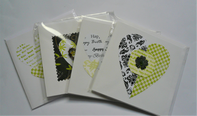 4 Pack HEART Themed Greetings Cards Green and Black Sea Glass Embellished