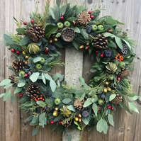 Luxury Christmas Wreath, fresh hand made. Ready for delivery from late November