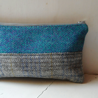 Pencil case or cosmetics case in harris tweed - Beannach