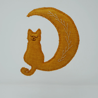 Marmalade - crescent moon and cat hanging ornament
