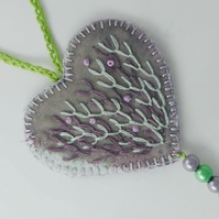 Haar - heart shaped hanging ornament with hand embroidery and glass beads