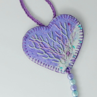 Myst - heart shaped hanging ornament with hand embroidery