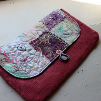 Rosebud - raspberry pink clutch bag with textile art feature