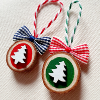 Two christmas hanging decorations wooden slice tree ornament