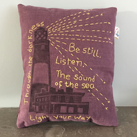 Purple Dream Sleep Pillow Lighthouse with 'Be Still…' embroidered in yellow