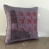 Purple lighthouse and red printed cushion with sleep sachet