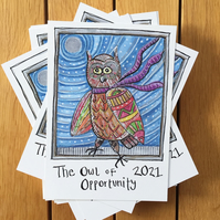 POSTCARD Jazzy – The Owl of Opportunity 2021