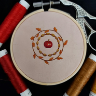 Hand embroidered autumnal wreath