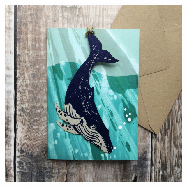 'Humpback Whale' Wildlife Tag Charity Card