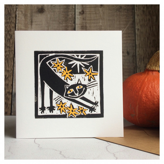 Lucky Black Cat Blank Greeting Card for Halloween