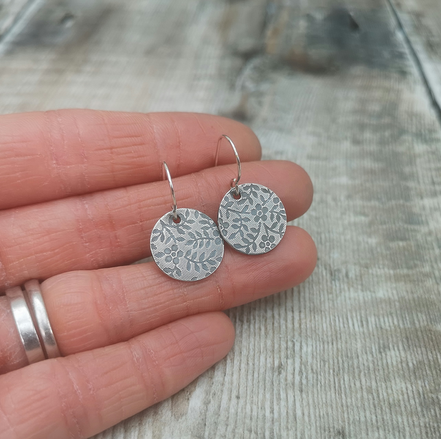 Sterling Silver Floral Patterned Disc Earrings