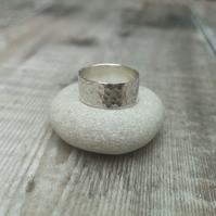 Sterling Silver Wide Hammered Ring Band - Made to Order