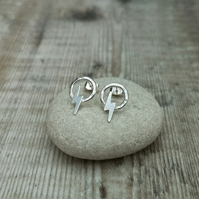 Sterling Silver Lightning Flash Circle Hoop Stud Earrings