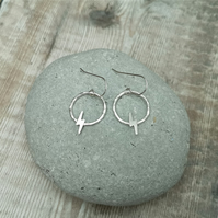 Sterling Silver Lightning Flash Circle Hoop Earrings