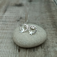 Sterling Silver Star and Moon Circle Stud Earrings