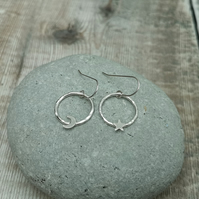 Sterling Silver Star and Moon Celestial Circle Hoop Earrings