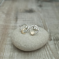 Sterling Silver and 9ct Gold Star and Moon Circle Stud Earrings