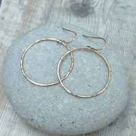 Rose Gold (Red Gold) Large Hammered Circle Hoop Earrings