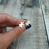 Sterling Silver Jigsaw Puzzle Piece Stud Earrings