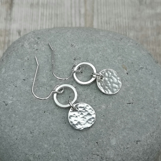 Sterling Silver Hammered Disc and Polished Hoop Earrings