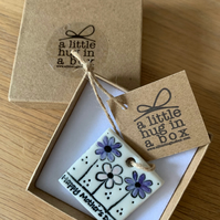 A little hug in a box porcelain (Blue) Happy Mothers Day Gift Tag