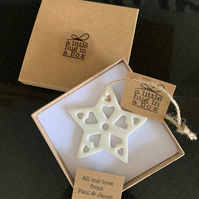 A Little Hug in a Box Porcelain Lacy Snowflake Christmas Decoration