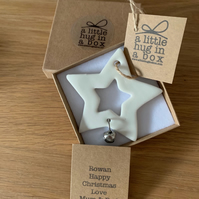 A Little Hug in a Box Porcelain Snowflake Christmas Decoration