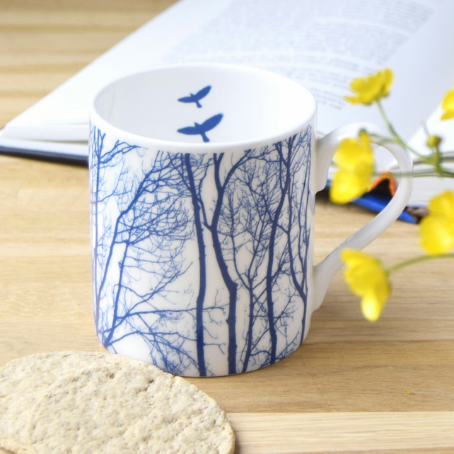 Fine bone china blue and white branch mug