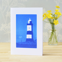 Penmon Lighthouse, Anglesey, Cyanotype Art Card, Blue and White