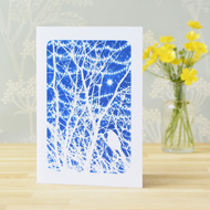 Bird in branches with tree lights Cyanotype art card